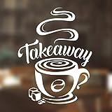 Cartel de café para ventana de café, etiqueta de cocina, decoración de la taza de vinilo para decoración de la pared, póster vintage, tienda de oficina, placa de cristal retro transferencia para
