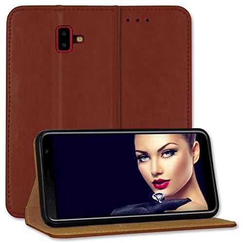 mtb more energy® Leder Tasche Bookstyle für Samsung Galaxy J6 Plus, J6+ 2018 (SM-J610, 6.0'') - braun - Echtleder - Schutz Hülle Wallet Cover Hülle