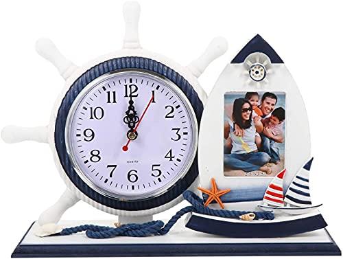 DZCGTP Adorno de Reloj náutico con Marco de Imagen de velero Relojes de Madera Volante de velero Relojes de Estante Adorno costero de Playa Tableto