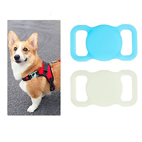 Funda Protectora Anti arañazos Perdida de Silicona Compatible con Apple Airtag Seguimiento GPS para Perros, Gatos, Mascotas, Collar Accesorios (Luminous Green+Luminous Blue)