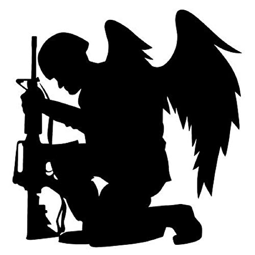 Cartat2s Soldier with Wings Fallen Silhouette Vinyl Decal 5.75in X 5.75in American Freedom Fighter Army Navy Marines Window Sticker Car Truck Car Laptop Mac iPad Toolbox Pick Color (White)