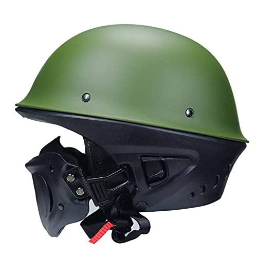 ACEMIC Medio casco de motocicleta con máscara extraíble, para Cruiser Chopper Mofa Road Moto Scooter Adulto, certificación DOT/ECE para hombres y mujeres C, S