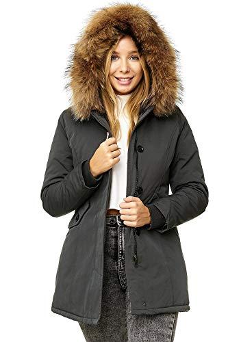 Elara Damen Winterparka | Jacke mit Echt Pelz / Echt Fell Kapuze | Designer Damenjacke | Gefütterte Outdoor Mantel | chunkyrayan, Größe 42, Farbe Grau