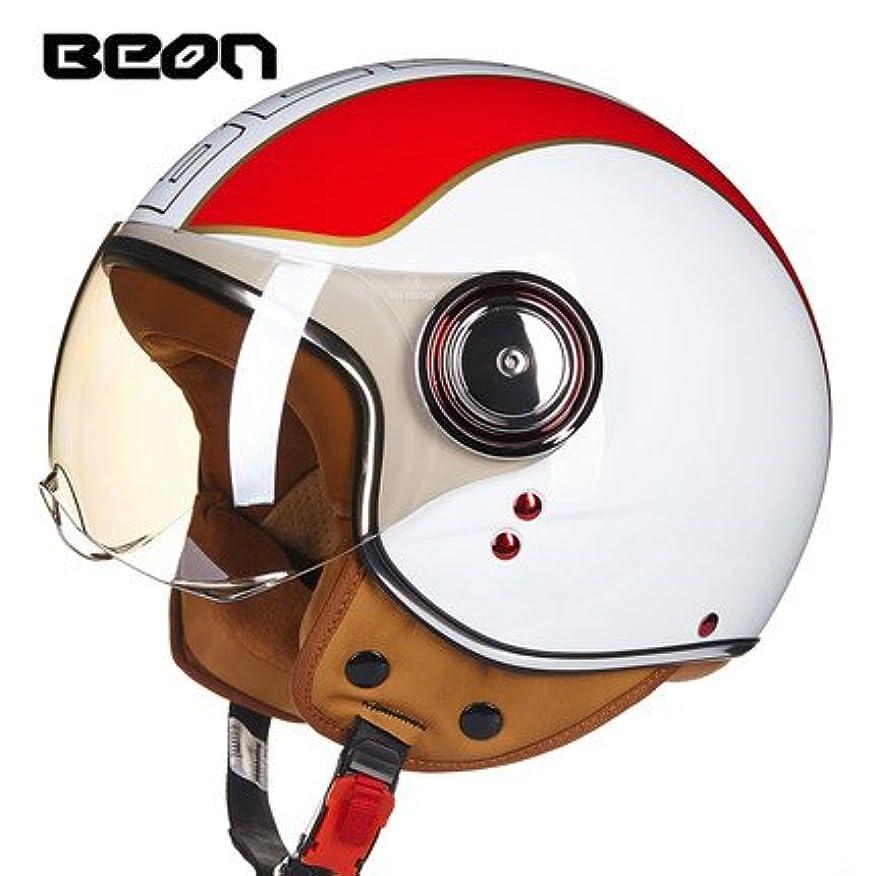 神経衰弱温かい胆嚢BEON-B110 バイクヘルメット 半帽ヘルメット 半帽 bike helmet バイク用品 内装洗濯可能 シールド付き メンズ レディース 男女兼用 (ホワイト(レッド線), L(57-58))