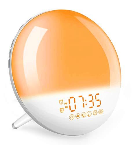 Smart Lichtwecker, Wifi Tageslichtwecker Sonnenaufgang unterstützt Alexa & Google Home, wake Up Light mit Radio, 4 Alarme, Wecker mit Licht für Kinder & Erwachsene