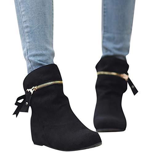 Stiefel Damen Boots Frauen Erhöhen Stiefel Spitz Zip Bow Stiefel Klassische Knöchel Freizeitschuhe Outdoor Stiefeletten Party Leder Boots ABsoar