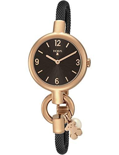 Reloj TOUS Hold Charms de acero IP rosado con correa de acero IP negra Ref:800350865