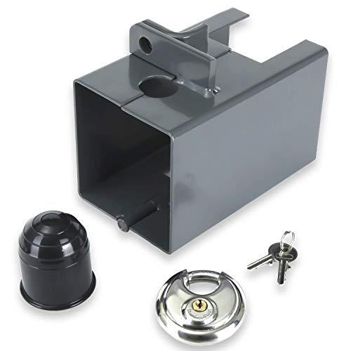 IH ILEBOH Anhängerschloss (grau) - hochwertiges Deichselschloss zur Diebstahlsicherung für PKW Anhänger - abgekoppelt & angehängt verwendbar