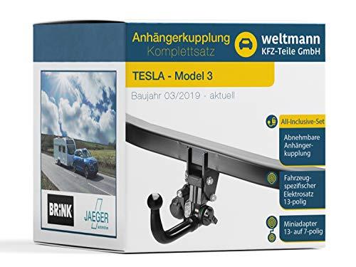 Weltmann 7D500526 - Enganche de remolque desmontable, incluye juego eléctrico de 13 polos específico para el vehículo, adecuado para Tesla Model 3