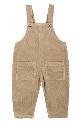 Camilife Baby Kinder Jungen Mädchen Kord Latzhose Vintage Retro Overall Kordsamt Latzhose Cordhose mit Hosenträger für 1-4 Jahres alt - Khaki Größe 110
