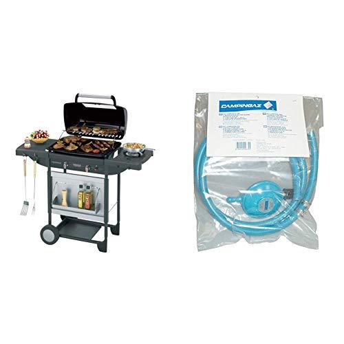 Campingaz Texas Revolution Grill Barbecue a Gas, Nero & Y980000000 Regolatore di Pressione del Gas Accessorio per Barbecue/Grill