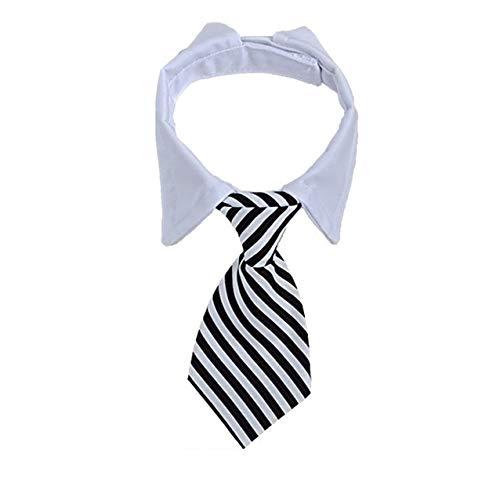 GCIYAEN Hunde-Krawatte mit verstellbaren weißen Halsbändern, formell, elegant, für Haustier, Geburtstagsgeschenk, Hochzeit, Valentinstag, Kostüm, Zubehör (L10.5-38.1 cm, Schwarz gestreift)