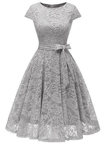 MuaDress 6008 Cocktailkleid Knielang Cape Ärmel Spitzen Brautjungfernkleid Floral Elegant Grau S