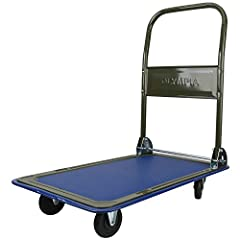 PLATFORM TRUCK PUSH DOLLY: The Olympia Tools Folding Platform Cart features all-steel construction, a wraparound rubber bumper, and a textured vinyl deck. Its oversized wheels and swivel casters provide easy maneuverability. FOLDABLE DOLLY: Perfect f...