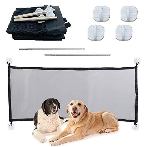 N/D Elinala Puerta Seguridad Perros, Puerta Mágica para Mascotas, Red de Aislamiento para Mascotas de 110 x 72 CM Plegable y Fácil de Instalar para Pasillos, Habitaciones y Escaleras (Negro)