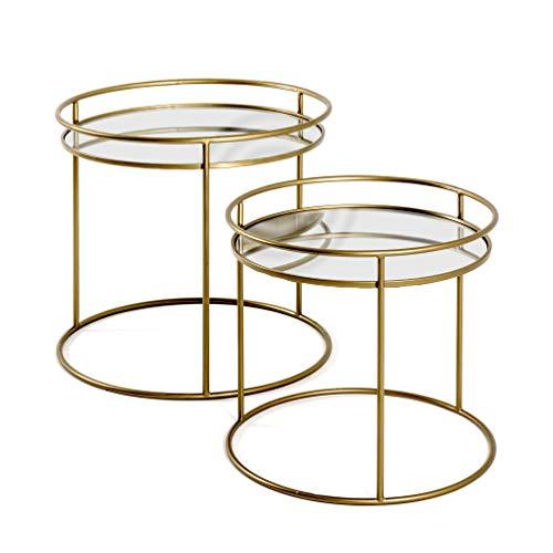 Haku-Möbel Set di 2 tavolini Laterali, Acciaio, Gold, H: 40/48 cm, Ø: 44/52 cm