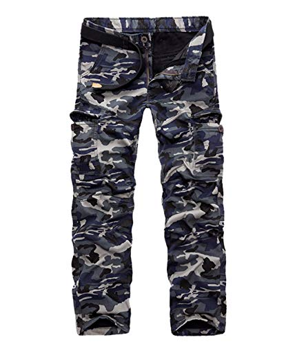 AYG Velour Hose Warm Herren Cargo Pants(dark blue camo,33)