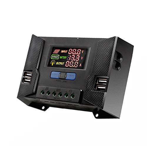 PSOIHGTFS Solar-Laderegler, Dual USB Port Sonnenkollektor-Batterie Intelligent, einstellbare LCD Display Straßenlaterne Controller-12V / 24V 10A-60A PWM,50a