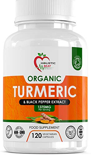 Turmeric Curcumin and Black Pepper Supplements for Health – 120 Vegan Capsules - Each Dosage Serving 1370 mg