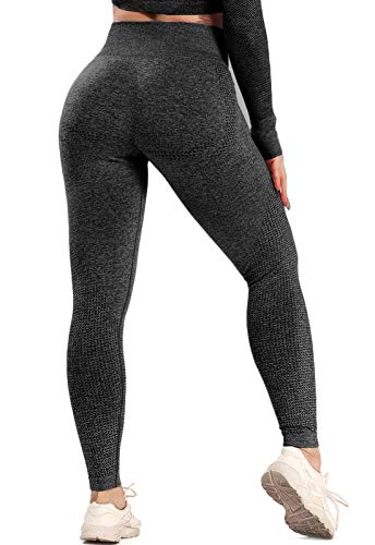 FITTOO Leggings Sin Costuras Mujer Pantalon Deportivo Alta Cintura Yoga Elásticos Seamless #6 Negro Medium
