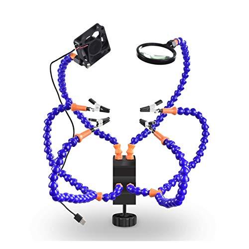 Manos amigas flexibles, La soldadura de la linterna titular del ventilador Lupa flexible armas de soldadura Helping Hand tercera mano del USB for la soldadura de reparación para una operación fácil