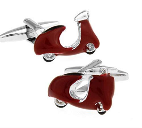 XKSWZD Gemelos de Moda para Hombres Color Rojo Material de latón Diseño de vehículos eléctricos Traje de Negocios Accesorios