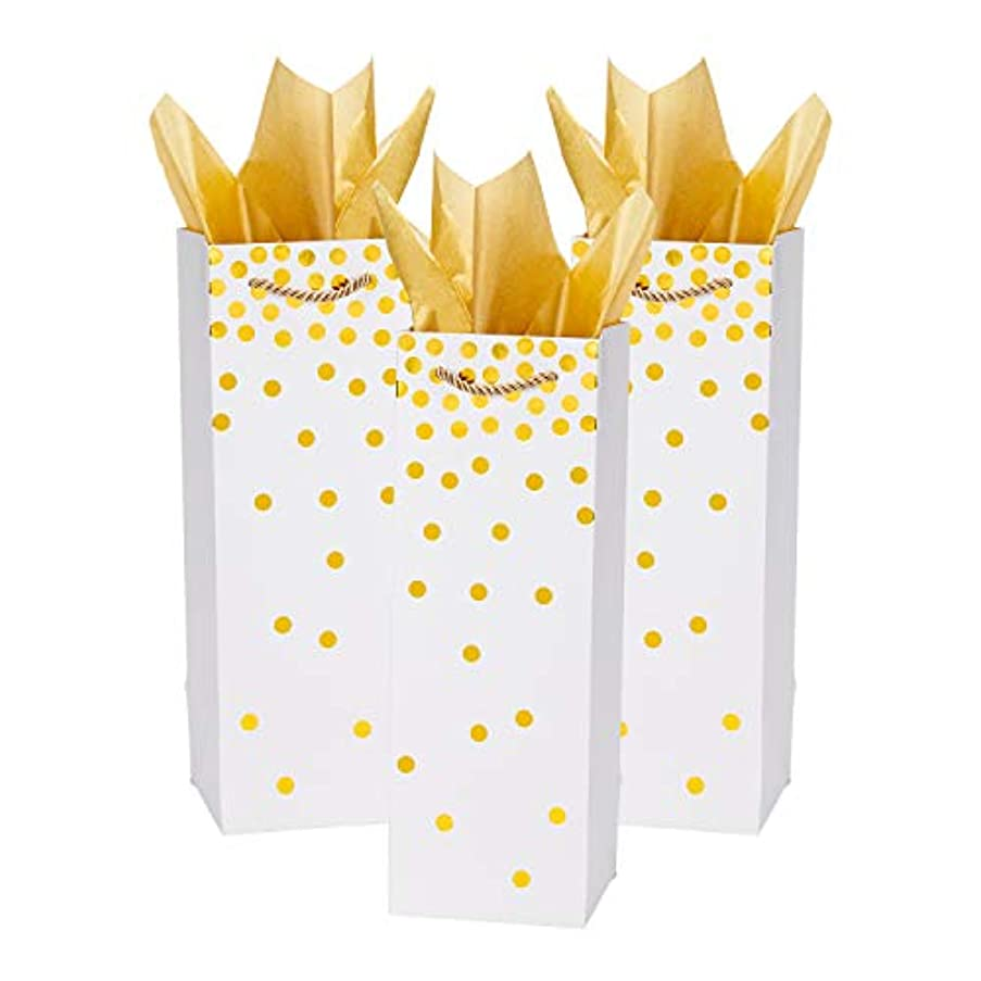 Loveinside Dots Foil Gift Bags -Gold Foil White Paper Wine Bag with Tissue Paper for Wedding,Birthday Present-12Pack -4.5