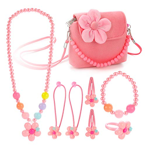 Hifot Kids Jewelry Little Girls Plush Handbag Necklace Bracelet Ring Hair Clips Set, Costume Jewelry Party Favors Gift for Dress up Pretend Play