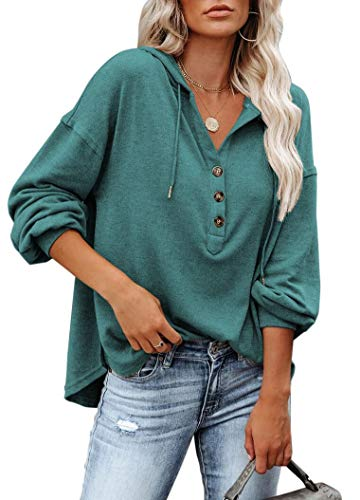 REVETRO Womens Hoodies V Neck Long Sleeve Tunic Top Button Down Drawstring Henley Oversized Shirt Sweatshirt Blouses Blue Green Small
