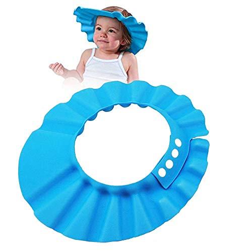 Baby Shampoo Schutz Verstellbarer Duschhaube Kinder Badekappe, Badekappe Baby für Babypflege, Baby Badekappe, Baby Shampoo Cap Augenschutz Dusche Badeschutz für Baby Kinder, Blau
