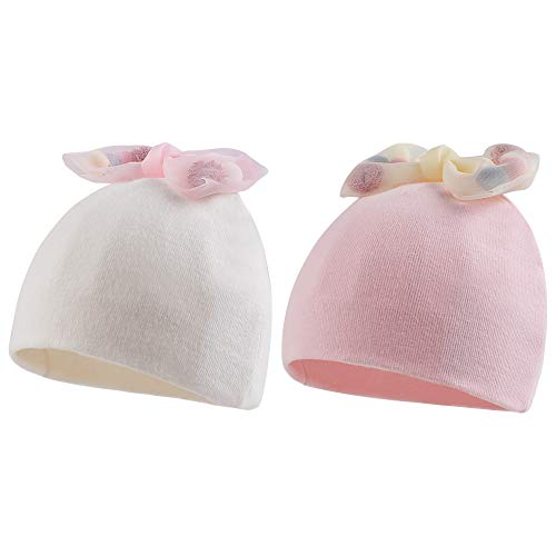 Cotton Newborn Hospital Hat Baby Girl Bow Turban Hats Soft Infant Girls Beanies 2-Pack ((White+Pink) Bow)