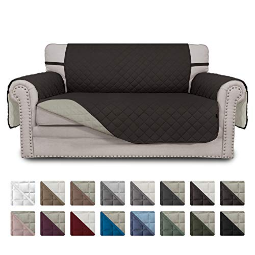 Easy-Going Sofa Slipcover Reversible Loveseat Cover Water Resistant Couch Cover Furniture Protector with Elastic Straps for Pets Kids Children Dog Cat(Loveseat,Chocolate/Beige)