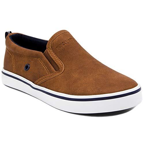 Nautica Kid s Akeley Youth Slip-On Casual Shoe Canvas Sneaker-Akeley-Tan Pu-2