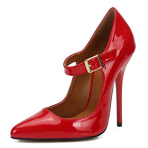 fereshte Unisex Herren Damen Schuhe Crossdresser hohe Absätze Party Pumps High Heels mit Metallschnalle und Pfennigabsatz Rot PU 48 EU