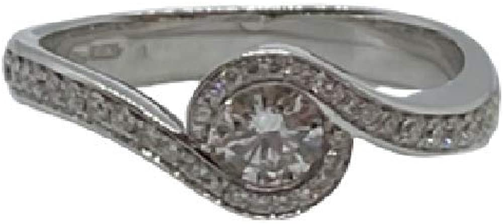 Chimento,anello solitario per donna in oro 18kt(4,6 gr)con diamanti 0,54 ct