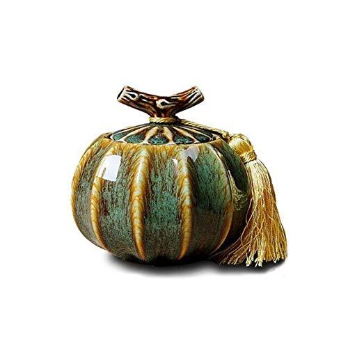JINSUO GWTRY Ataúd for Mascotas, parientes cercanos y Querido crematorio for Mascotas, Recuerdo: el Horno de cerámica de 5,6 Pulgadas de diámetro se vuelve Verde (Color : Verde, Talla : 14 * 14cm)