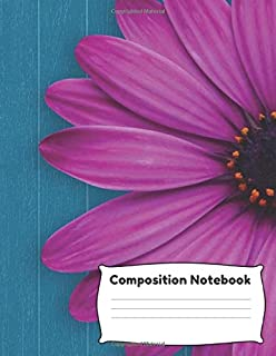 """Composition Notebook: 8.5 x 11"""" Wide Ruled 100 pages (50 sheets) Fashion Pink Blue Flower"""