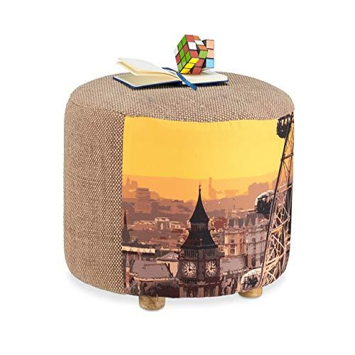 Relaxdays kruk rond met Londen opdruk, Big Ben kruk met stoffen overtrek, viervoetige poef, HxD 38x43 cm, beige