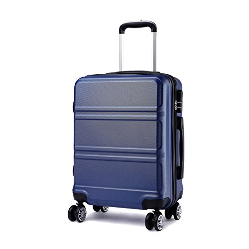 Kono 20 inch Cabin Suitcase Lightweight ABS Carry-on Hand Luggage 4 Spinner Wheels Trolley Case 55x40x22 cm(Navy)