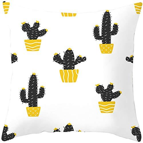 ANAZOZ Fundas para Cojines Exterior 50x50,Funda Cojines Decorativos para Sofa Blanco Amarillo,Cactus Funda Cojin Poliester Fundas de Cojines Sin Relleno