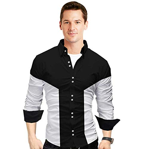 Zolario Cotton Casual Shirts for Men, Regular Fit, Full Sleeve, Ideal for Regular Wear, Office Smart Casuals (Black Color, Size Small / 36)