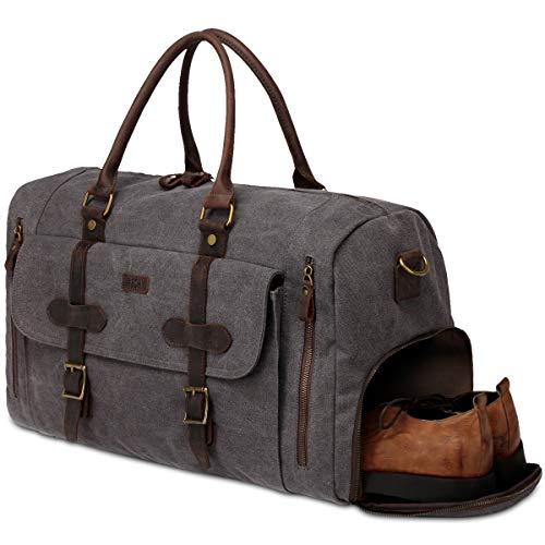 Canvas Travel Bag,Vaschy 46L Duffle Bag Holdall Weekend Bag Travel Tote Luggage Bag with Separate Shoe Compartment Carry-on Baggage, Grey, Large Capacity:55 inches 27 inches 32 CM