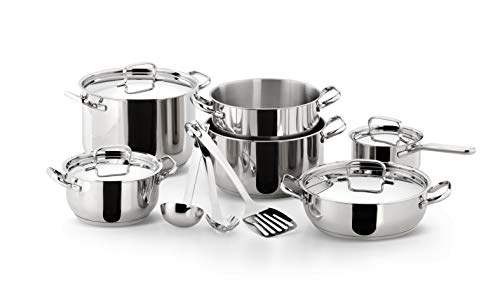 Lagostina Sfiziosa Batterie Cuisine Casseroles Faitout Sauteuse Marmite 13 pièces Inox 18/10 Induction 010740600013