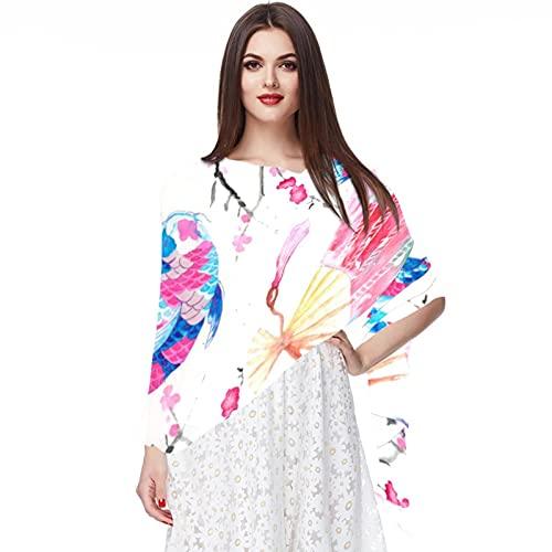 WJJSXKA Bufandas de gasa suave, chales, abrigos para vestidos, accesorios de mujer, carpa japonesa, abanicos orientales de flor de cerezo chino
