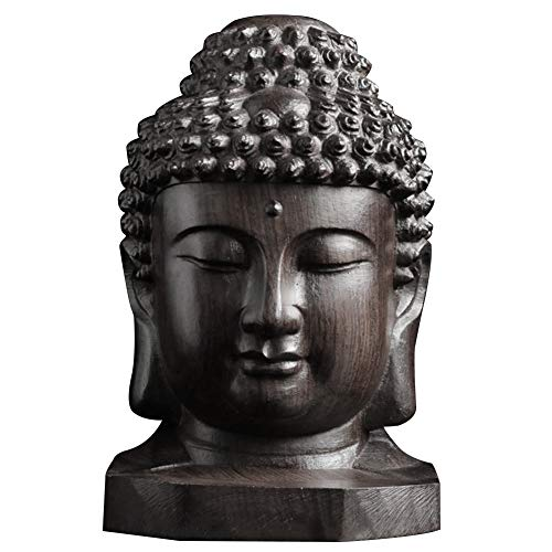 Buddha Head Statues for Home Decor, Handmade Mahogany Desktop Collectable Ornament Sakyamuni Tathagata Carving d Craft, Mini Statue Home Decoration Figurine Gift