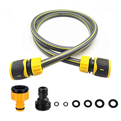 Topways Hose Connection Set for Garden Hose Reel, Plastic Hose Pipe Fitting Connection Kit including 3/4'' Male Threaded, 2 in 1 Faucet Adapter, 1/2' Hose End Adapter, 1.3M Length of Pipe