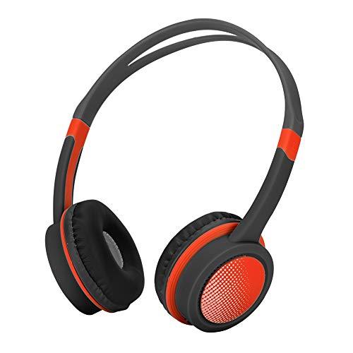 Garsent Kinder Hoofdtelefoon, Wired Hoofdtelefoon met Microfoon 85dB Volume Beperkte Gehoorbescherming Lichtgewicht Geluid Isolerende Opvouwbare Stereo Draagbare Hoofdtelefoon voor Kinderen., Zwart Rood