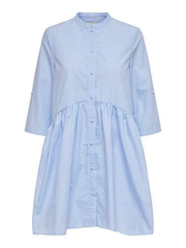 Only Onlchicago Life Stripe 3/4 Dnm Dress Qyt Vestido, Blanco/Rayas: Azul, L para Mujer
