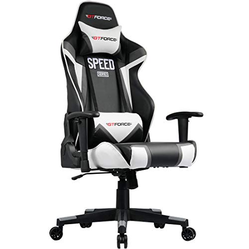 GTFORCE SPEED FS RECLINING SPORTS RACING GAMING OFFICE DESK PC CAR FAUX LEATHER CHAIR (Grey)