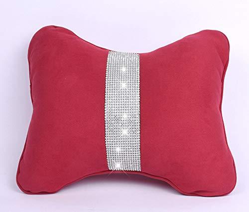 eing - 2 almohadas de cintura de felpa suave para asiento de coche, con cristales de imitación, color rojo